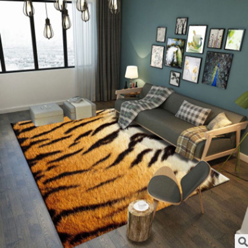 Creative Modern Rug 3D Leopard/Zebra/Tiger Striped Fur Like Print Door Mat Living Room Bedroom Area Rugs Carpet Free Shipping