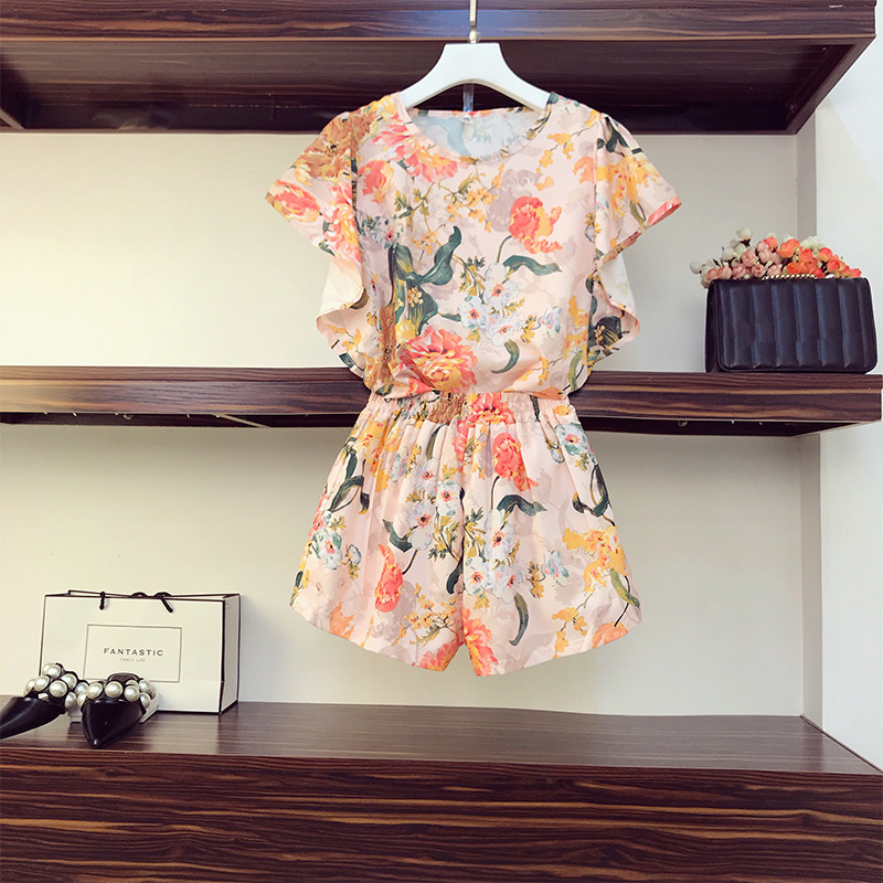 HAMALIEL Summer Women Shorts Suit 2020 New Plus Size Chiffon Batwing Sleeve Floral Print Top Two Piece Set + Wide Leg Shorts Set