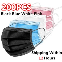 200 шт. Розовый Черный Одноразовый нетканый 3-х слойная маска для лица дышащая маска с эластичным Earband дышащие взрослые маска для лица