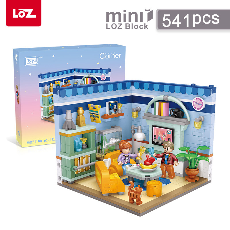 LOZ Mini bloques Moc casa esquina construcción ladrillos sala de estar juguetes modelo cama habitación juguetes para niños regalos de navidad 1901-1902