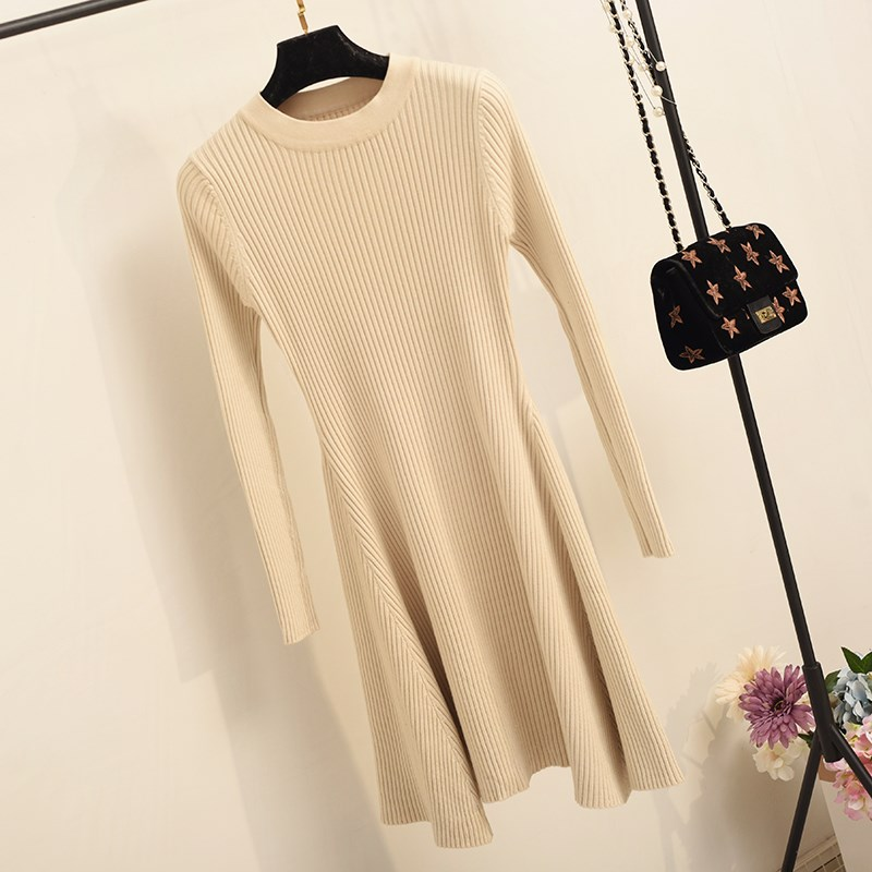 H8ad9fd3372ec433bbe34884174655b1by - Women Long Sleeve Sweater Dress Women's Irregular Hem Casual Autumn Winter Dress Women O-neck A Line Short Mini Knitted Dresses