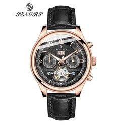 Relojes de lujo para hombres, marca Senors, reloj negro automático, reloj de pulsera mecánico deportivo de negocios resistente al agua de acero inoxidable para hombres