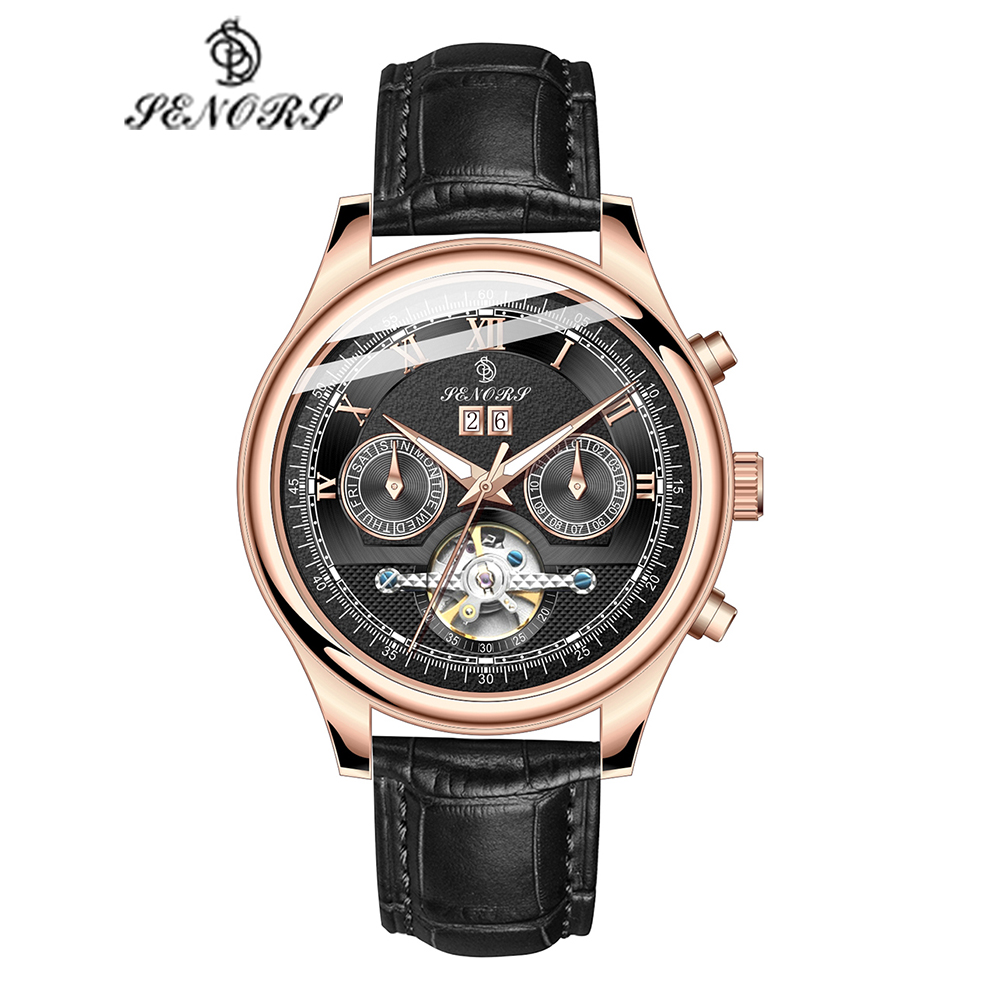 Senors Brand Luxury Men Watches Automatic Black Watch Men Stainless Steel Waterproof Business Sport Mechanical Wristwatch