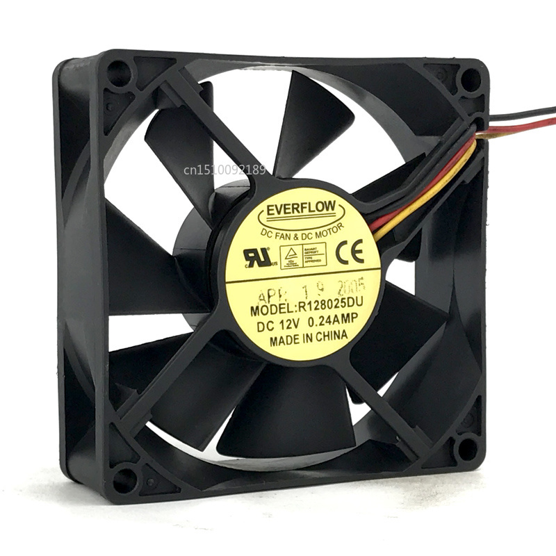 For 80*25mm 8CM R128025DU 12V 0.24A 4 Wires 4 Pins Case Fan CPu Cooler Free Shipping