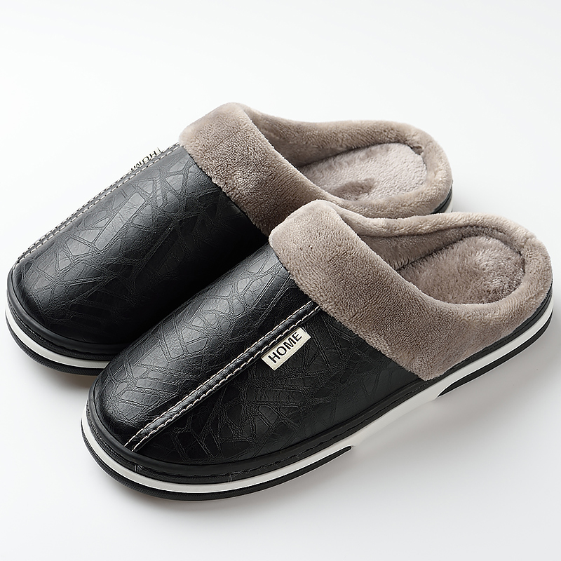 Men Slippers Indoor Leather Winter Waterproof Warm Home Slipper For Men Couple Shoes Large Size 41-49 Short Plush Mans Footwear