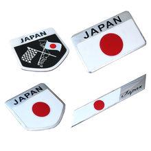 Metal Aluminum Alloy Japan Flag Car Stickers Car Modification Decoration Stickers for Toyota Honda Mazda Suzuki Mitsubishi