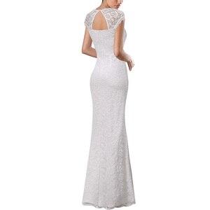 Image 3 - Vfemage Womens Vintage Shiny Snakeskin Lace Sexy Keyhole Back Cutout High Slit Formal Evening Wedding Party Maxi Long Dress 060