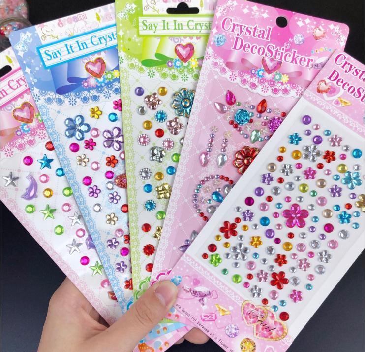 2pcs Children Gem Stickers Diamond Sticker  Crystal Sticker Three-dimensional Decoration Rhinestone For Kids Girls Gift