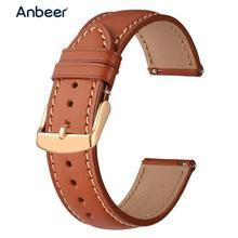 Anbeer מהיר שחרור רצועת השעון 18mm 20mm 22mm אמיתי עור שעון רצועת צמיד עם רוז זהב אבזם עבור גלקסי