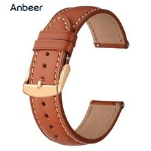 Anbeer Quick Release Watchband 18mm 20mm 22mm Genuine Leather Watch Strap Bracelet with Rose Gold Buckle for Galaxy