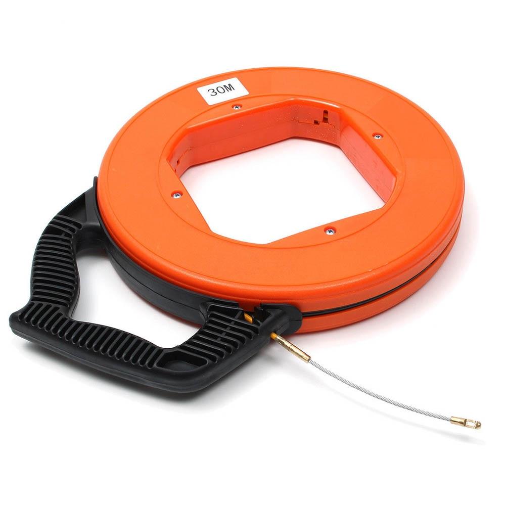 30Meter Fiberglass Fish Tape Reel Puller Conduit Ducting Rodder Pulling Wire Cable Fishing Tool B88