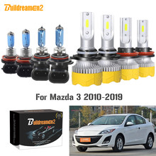 Buildreamen2 4 Pieces Car Accessories Headlight High Low Beam LED Halogen Bulb Headlamp 9005 H11 12V For Mazda 3 2010-2019(China)