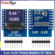 0.66 inch OLED LED LCD Dispaly Shield Compatible for WEMOS D1 MINI ESP32 64X48 0.66 inch Display 0.66