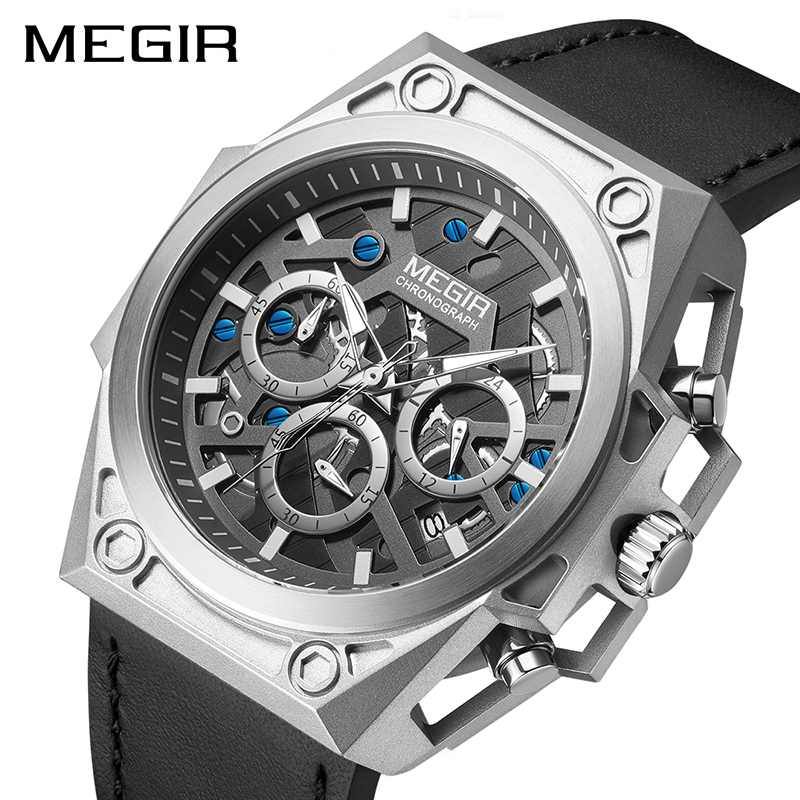 MEGIR Stainless Steel Mens Watches Waterproof Sports Men Quartz Wristwatches Chronograph Stop Watches for Man Male Clock Hour 1