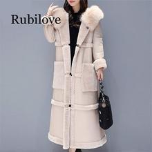 Rubilove Autumn Winter Lamb Fur Coat Women Plus Size Korean Big fur collar Over the knee Faux Leather Thick Warm Long Elega