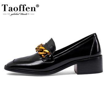 Taoffen Real Leather Women Pumps Tassel Buckle Chain Fashion High Heel Shoes Woman Office Dress Lady Daily Footwear Size 34-39