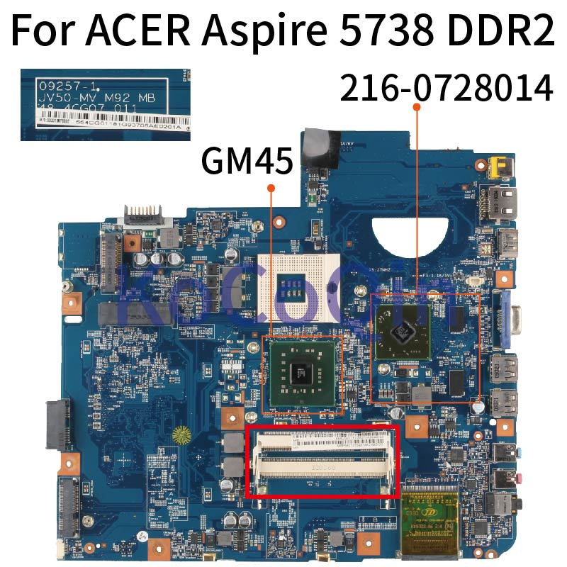 48.4CG07.011 Laptop Motherboard For ACER Aspire 5738 5738G 09257-1 JV50-MV M92 MB 48.4CG07.011 GM45 216-0728014 DDR2 Mainboard