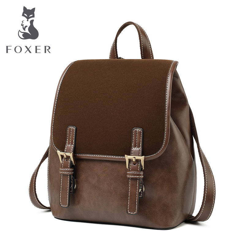 FOXER Eangland Style Lady Backpack Cowhide Leather Retro Women Business Backpack Student Large Capacity School Bag Notebook Bag