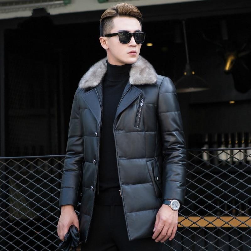 Genuine Leather Jacket Men's Down Jacket Autumn Winter Long Sheepskin Coat For Men Mink Fur Collar Jackets KJ1119