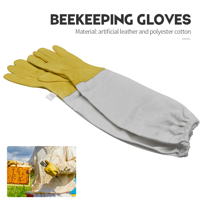 Beekeeping Gloves Beekeeper Protective Sleeves Ventilated Sheepskin And Canvas Anti Bee Tools For Apiculture Equipment
