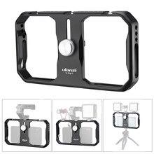 Universal ulanzi u-rig ii gaiola de vídeo de metal + slots de sapato frio estabilizador de estabilização aperto de mão tripé de montagem para smartphone iphone