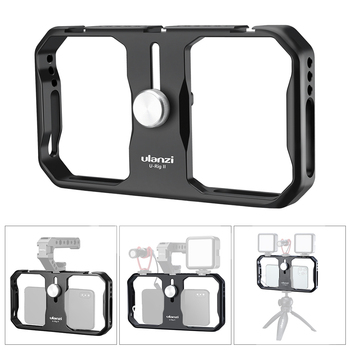 Universal Ulanzi U-Rig II Metal Video Cage+Cold Shoe Slots Stabilizer Stabilizing Hand Grip Tripod Mount for Smartphone iPhone