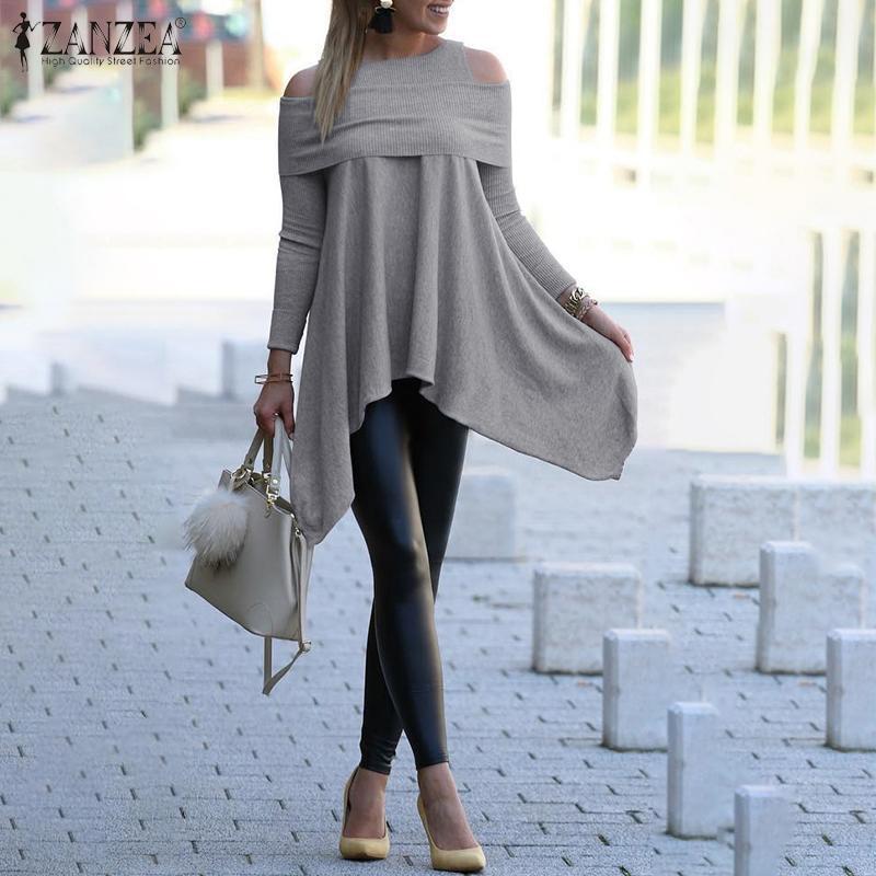 ZANZEA Women Pullovers Blouses 2020 Fashion Sexy Off Shoulder Shirt Ladies Casual Solid Asymmetrical Hem Tunic Blusas Knitwear 7