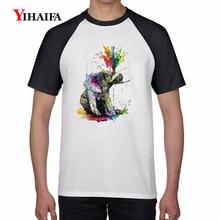 Mens 3D Print T Shirts Rainbow Graffiti Painted Elephant Animal Graphic Tees Men Casual Summer Tops White Unisex T-Shirt