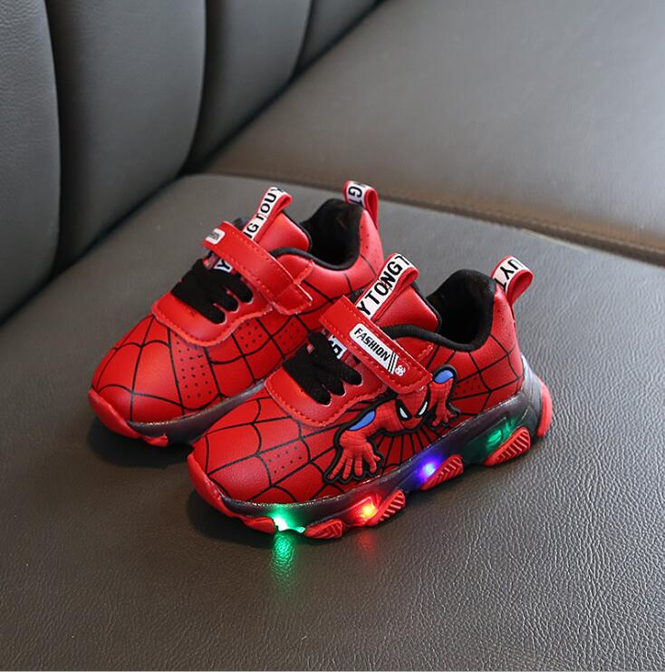 SpiderMan LED Children Shoes Boys Light Basket Girl Glowing Sneakers Toddler Baby Luminous Sneakers Kids Light Up Shoes