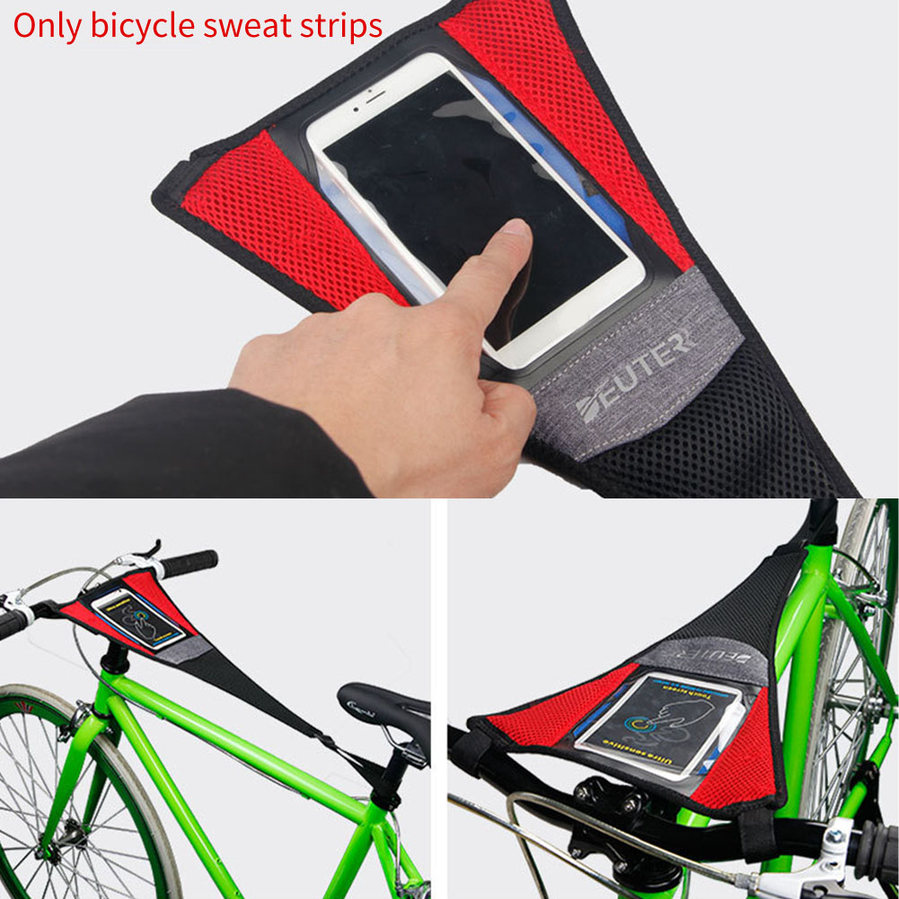 Bicycle Trainer Sweat Net Frame Guard Absorbs Sweat Dual Layer Design Black Red