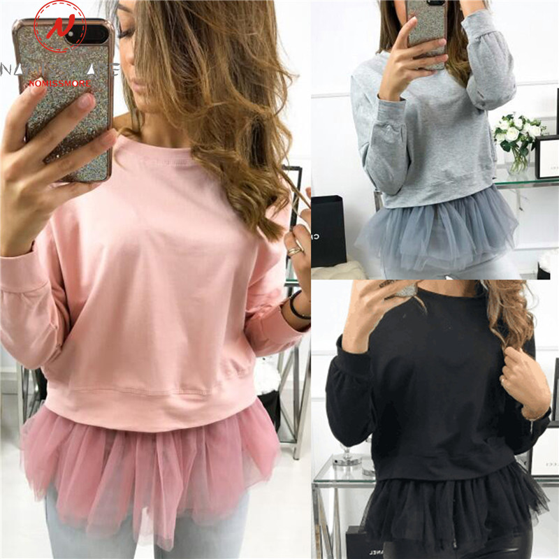 Fashion Women Spring Autumn Streetwear Top Mesh Patchwork Design O-Neck Long Sleeve Solid Color Casual Loose Pullovers Shirts