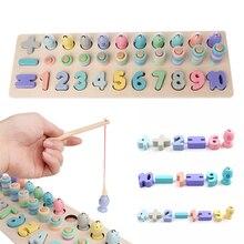 Montessori préscolaire jouets en bois numérique correspondant conseil de pêche jouet bébé éducation précoce enseignement jouets mathématiques pour les enfants