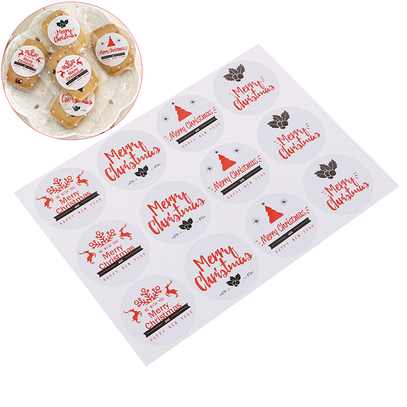 10Sheets <font><b>90</b></font>/120pcs Christmas Sealing Paper Stickers Thank For Candy Cookie Packing Bags Box For Wedding New <font><b>Year</b></font> Party DIY Acc image