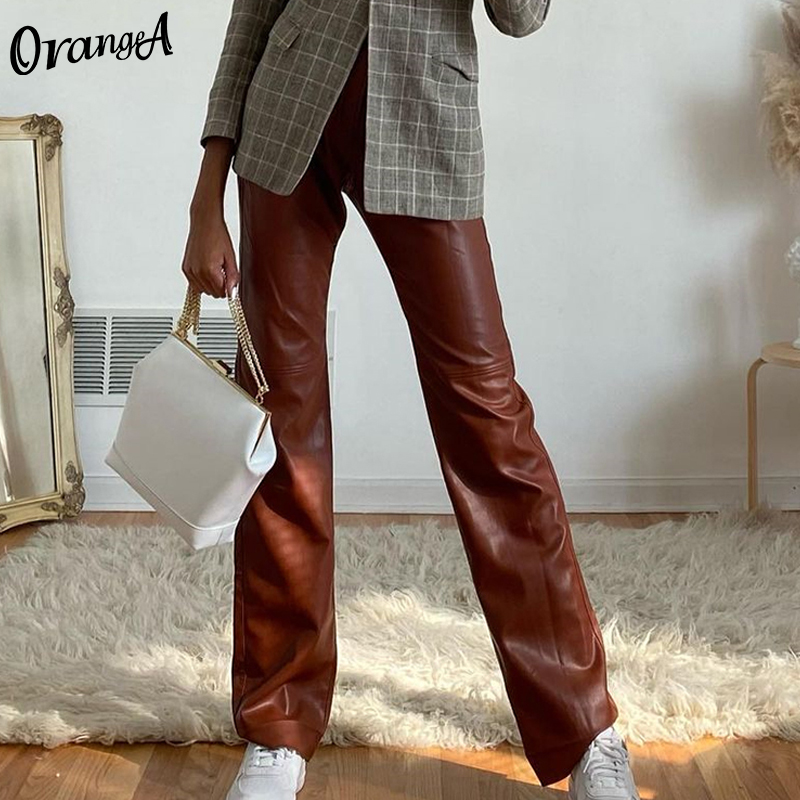 Оранжево модные Y2K брюки из искусственной кожи для женщин с прямыми карманами Осенняя элегантная женская обувь на высоких каблуках с резинкой на талии; Офисные тонкие винтажные брюки