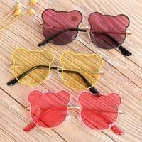 Gafas de sol con forma de oso para niños y niñas, montura redonda con dibujos animados, bonitas gafas de sol de conductor
