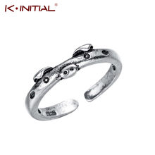 Kinitial Retro Pig Rings Lucky Piggy Animal Couple Opening Rings for Women Man Finger Jewelry Lover Birthday Party Gift(China)