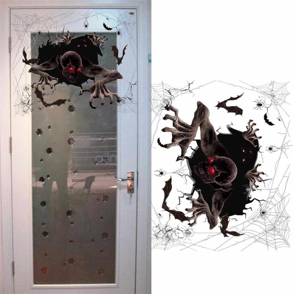 هالوين جدار لاصق أرضيات ملصقات جدار الرعب جدار نافذة الباب لاصق زجاج الديكور هالوين الدعائم ديكور المنزل الطرف