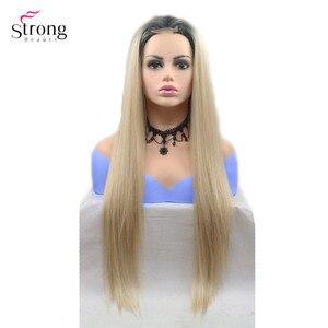 Image 4 - Strongbeauty peluca larga recta para mujer, pelo ombré negro/rojo, sintética, con encaje frontal