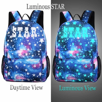 1PCS Luminous Star School Bag Laptop Backpack with Anti-theft Lock USB Charging Port Boy Girl Daypack for Travel Camping 2