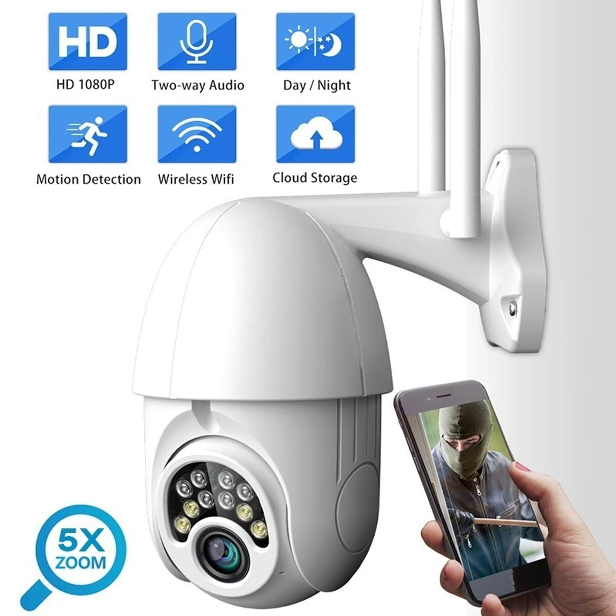 1080P Cloud Wifi PTZ Camera Outdoor 2MP Auto Tracking Home Security IP Camera 5X Digital Zoom Speed Dome Camera