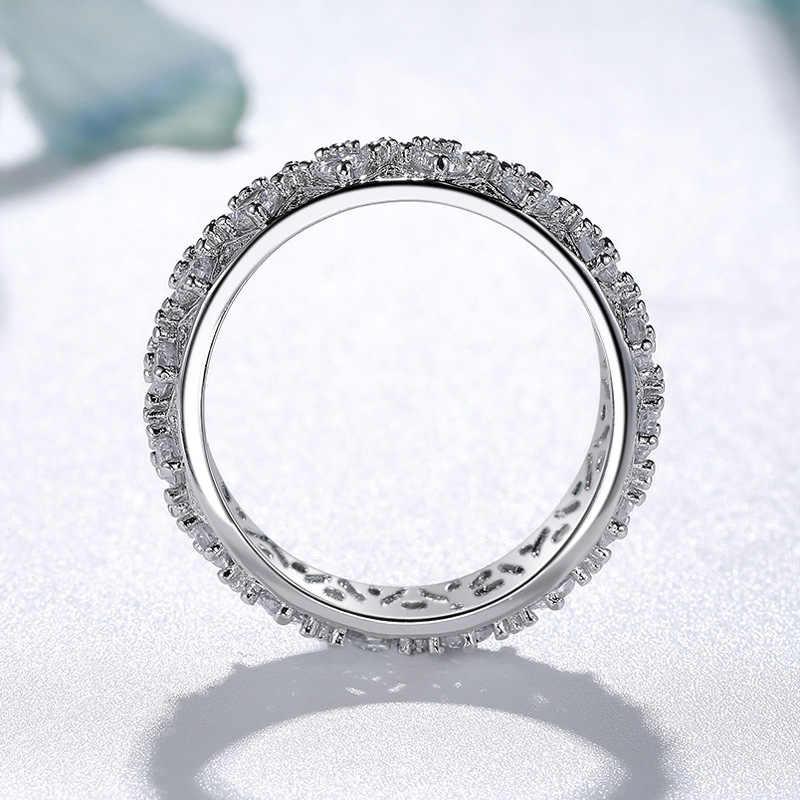 925 Silver Warna Putih VVS1 Cincin Berlian untuk Wanita Mewah Topaz Gemstone Bizuteria Baik Perhiasan 925 Diamond Cincin Perhiasan