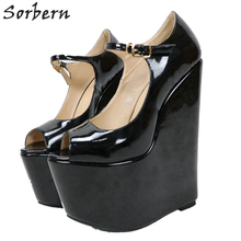 Sorbern Comfortable Red Wedge High Heel Pump Shoes Women Mary Janes Shoes 22Cm Ladies Heels Size Womens Thick Platform Heel