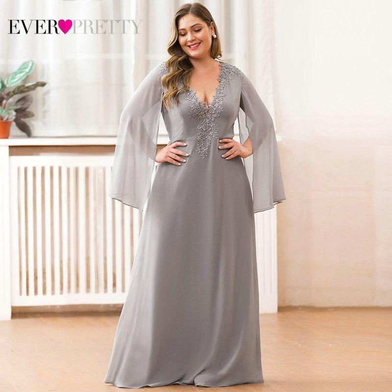 Plus Size Mother Of The Bride Dresses Ever Pretty A-Line Appliques V-Neck Farsali Elegant Dinner Gowns Vestidos Madre Novia 2019