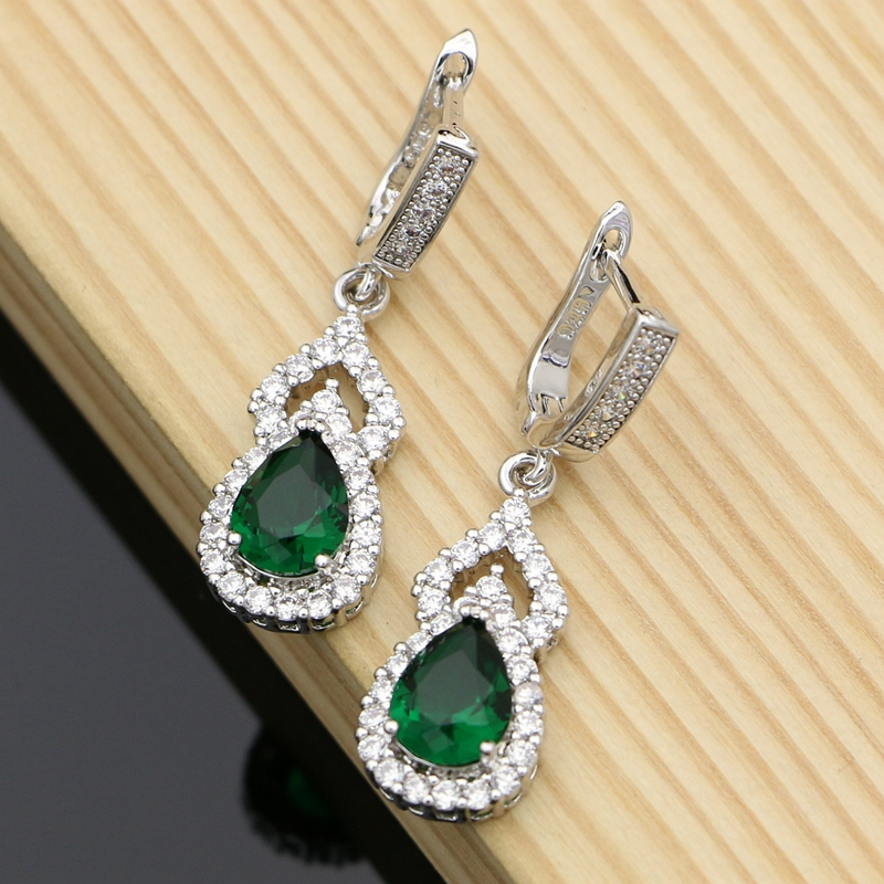 Fashion Bohemia Earrings For Women Natural Green Cubic Zirconia White Crystal Round Stone Cheap Jewelry Gift
