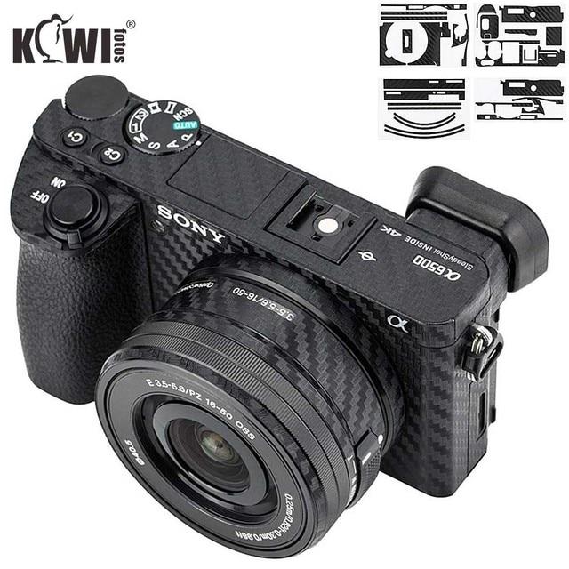 Anti Slide Kamera Körper Carbon Faser Film Kit Für Sony Alpha A6500 + SELP1650 16 50mm Objektiv anti Scratch Haut Abdeckung 3M Aufkleber