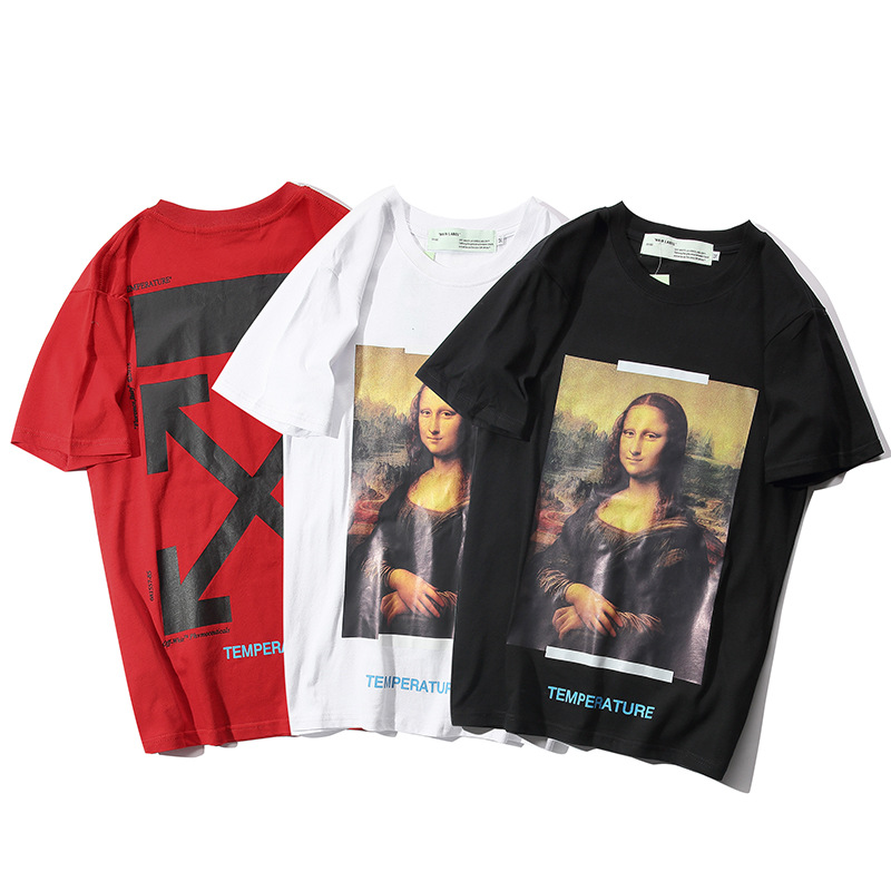 Occident Fashion Cool Mona Lisa Arrowhead T-shirt Ow-Style Teenager Short Sleeve Spring And Summer Casual