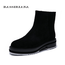 BASSIRIANA2019 leather boots women winter black suede rubber sole womens shoes high quality