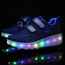 Led Man Women Shoes with Two Wheels Dark Blue USB