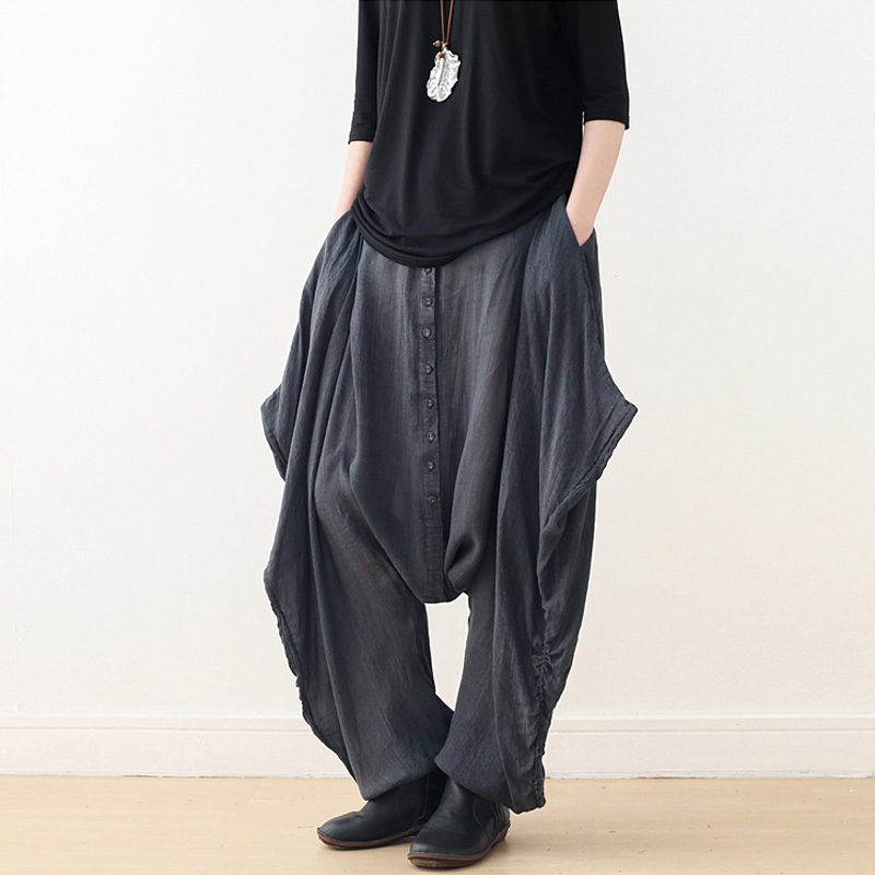 Cross   Pants   For Women Trouser Pockets Button 2019 Autumn New Elastic Waist Loose Casual   Wide     Leg     Pants