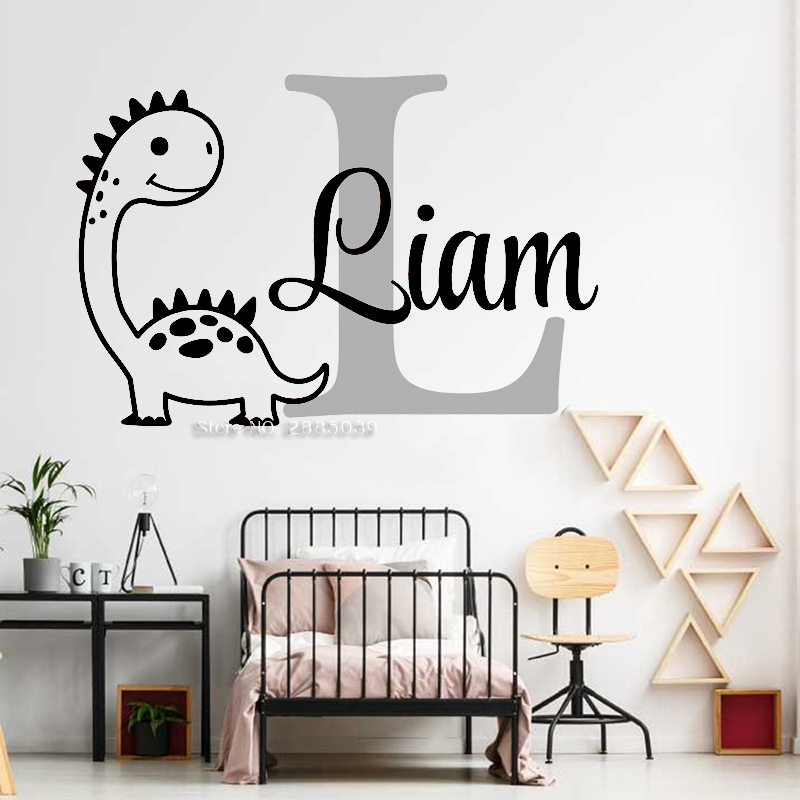 Custom Boy Name Wall Decal Cartoon Dinosaur Murals Baby Room Wall Decor Sticker Diy Dinosaur Vinyl Nursery Wallpapers Lc1678 Leather Bag